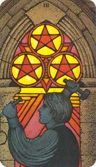Three of Coins Tarot Card - Morgan-Greer Tarot Deck