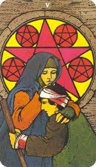 Five of Coins Tarot Card - Morgan-Greer Tarot Deck