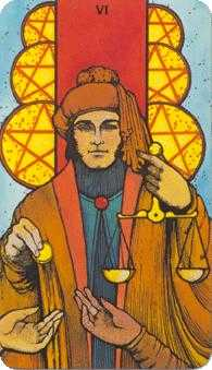 Six of Coins Tarot Card - Morgan-Greer Tarot Deck