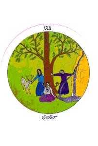 Justice Tarot Card - Motherpeace Tarot Deck