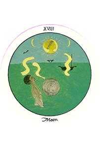 The Moon Tarot Card - Motherpeace Tarot Deck