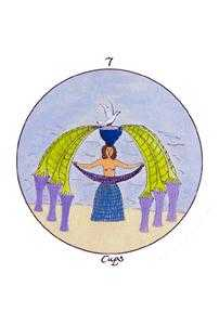 Seven of Cauldrons Tarot Card - Motherpeace Tarot Deck