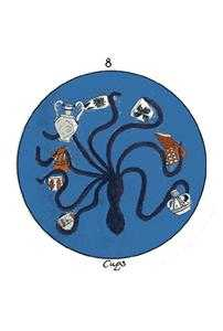 Eight of Water Tarot Card - Motherpeace Tarot Deck