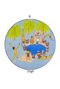 Nine of Bowls Tarot Card - Motherpeace Tarot Deck