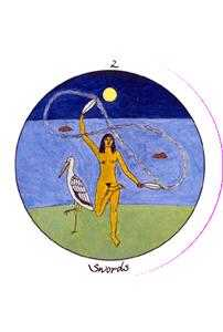 Two of Arrows Tarot Card - Motherpeace Tarot Deck