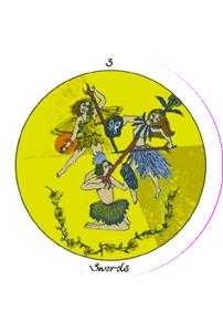 Three of Wind Tarot Card - Motherpeace Tarot Deck