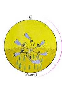 Six of Arrows Tarot Card - Motherpeace Tarot Deck