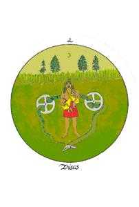 Two of Discs Tarot Card - Motherpeace Tarot Deck