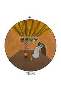 Four of Coins Tarot Card - Motherpeace Tarot Deck