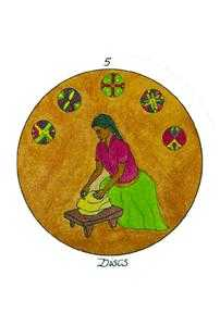 Five of Discs Tarot Card - Motherpeace Tarot Deck