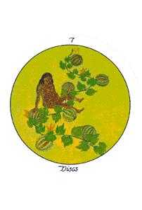 Seven of Coins Tarot Card - Motherpeace Tarot Deck