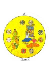 Eight of Discs Tarot Card - Motherpeace Tarot Deck