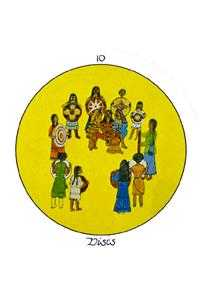 Ten of Discs Tarot Card - Motherpeace Tarot Deck