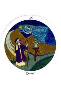 The Anchoret Tarot Card - Motherpeace Tarot Deck