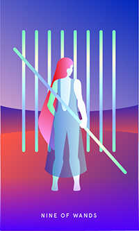 Nine of Staves Tarot Card - Mystic Mondays Tarot Deck