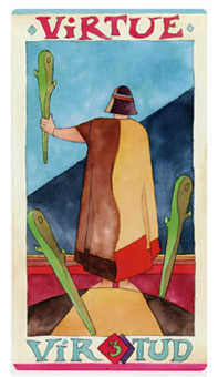 Three of Batons Tarot Card - Napo Tarot Deck