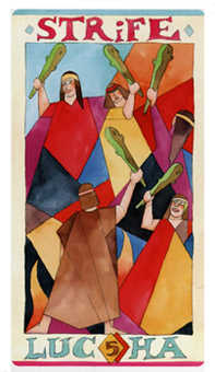 Five of Batons Tarot Card - Napo Tarot Deck