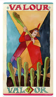 Seven of Rods Tarot Card - Napo Tarot Deck