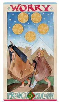 Five of Stones Tarot Card - Napo Tarot Deck