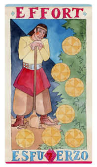Seven of Pentacles Tarot Card - Napo Tarot Deck
