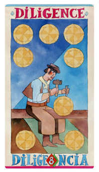 Eight of Coins Tarot Card - Napo Tarot Deck