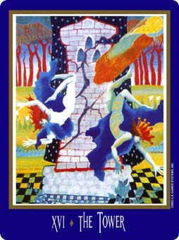 The Falling Tower Tarot Card - New Century Tarot Deck