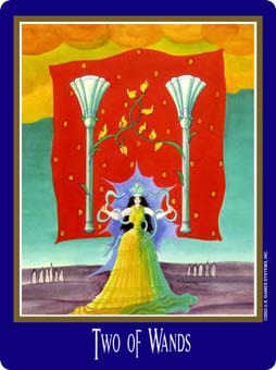 Two of Rods Tarot Card - New Century Tarot Deck