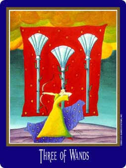 Three of Rods Tarot Card - New Century Tarot Deck