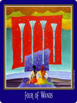 Four of Staves Tarot Card - New Century Tarot Deck