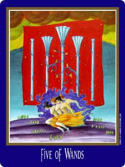 Five of Sceptres Tarot Card - New Century Tarot Deck