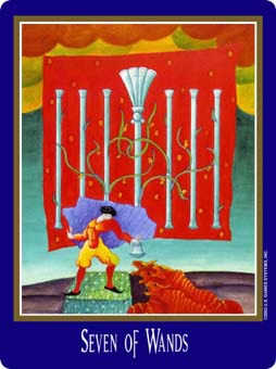 Seven of Rods Tarot Card - New Century Tarot Deck