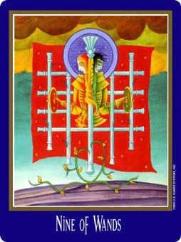 Nine of Rods Tarot Card - New Century Tarot Deck