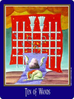 Ten of Batons Tarot Card - New Century Tarot Deck