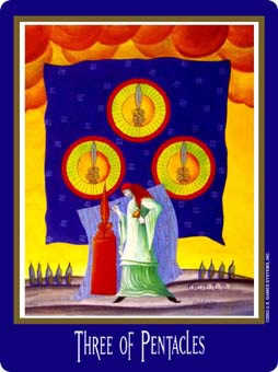 Three of Discs Tarot Card - New Century Tarot Deck
