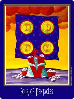 Four of Diamonds Tarot Card - New Century Tarot Deck