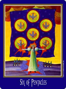 Six of Coins Tarot Card - New Century Tarot Deck