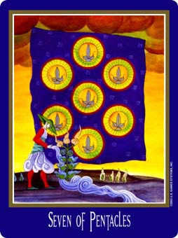 Seven of Coins Tarot Card - New Century Tarot Deck
