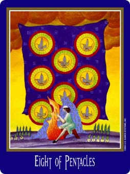 Eight of Coins Tarot Card - New Century Tarot Deck
