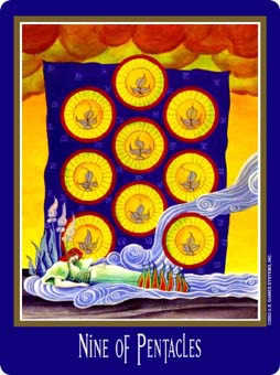 Nine of Coins Tarot Card - New Century Tarot Deck