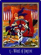 Wheel of Fortune Tarot card in New Century Tarot deck
