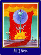 Ace of Wands Tarot card in New Century deck