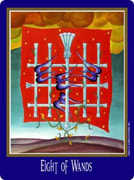 Eight of Wands Tarot card in New Century Tarot deck