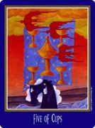 Five of Cups Tarot card in New Century Tarot deck
