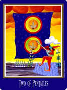 Two of Coins Tarot card in New Century deck