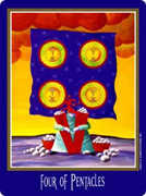 Four of Coins Tarot card in New Century deck