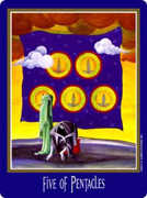 Five of Coins Tarot card in New Century Tarot deck