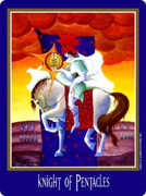 Knight of Coins Tarot card in New Century Tarot deck