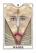 Two of Wands Tarot card in New Chapter deck