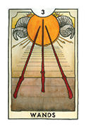 Three of Wands Tarot card in New Chapter deck