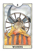 Five of Wands Tarot card in New Chapter deck